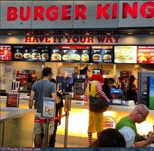burger king,poorly dressed,Ronald McDonald
