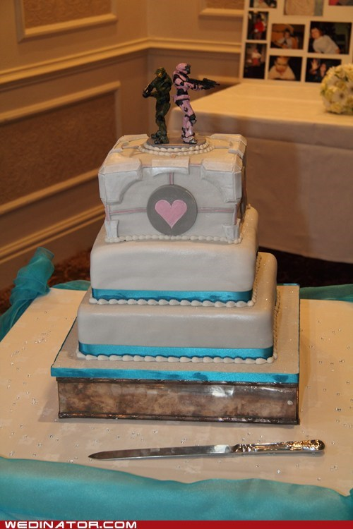 cakes,companion cube,funny wedding photos,halo,Portal,video games,wedding cakes