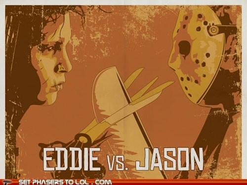 Edward Scissorhands,Fan Art,freddy-vs-jason,friday the 13th,jason,mashup,poster,pun