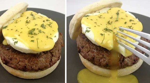 Afternoon Snack,burger hacker,eggs benedict burger