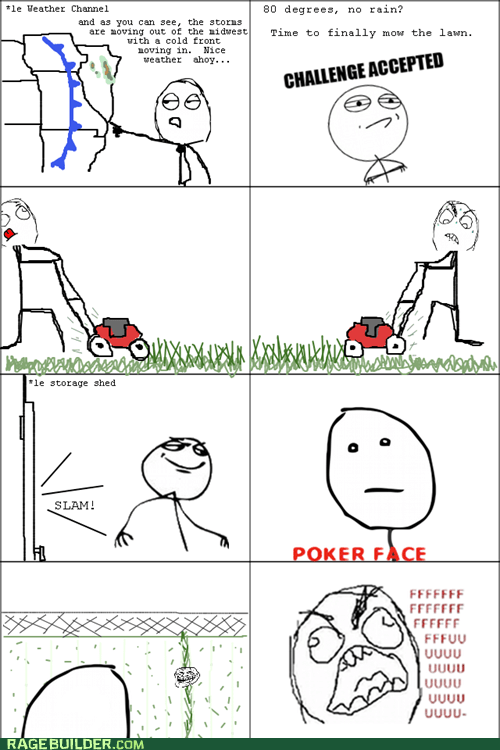 fu guy,lawn,mowing,poker face