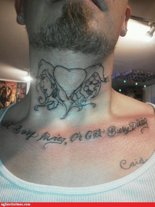 heart misspelled tattoos neck tattoos