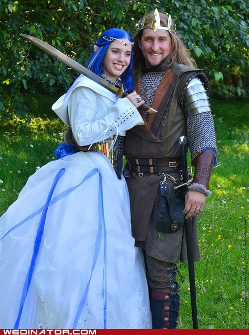 bride,cosplay,funny wedding photos,groom,medieval,renaissance fair