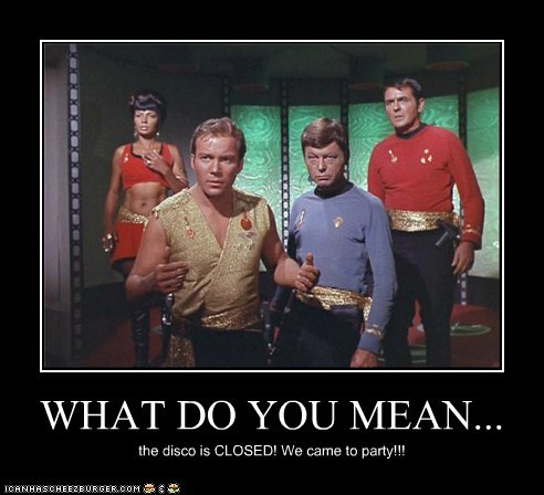Captain Kirk closed DeForest Kelley james doohan McCoy mirror mirror Nichelle Nichols scotty Shatnerday Star Trek uhura what do you mean William Shatner - 6527093504