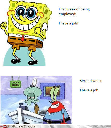 krusty krab,mr krabs,new job,SpongeBob SquarePants,squidward,week one,week three,week two