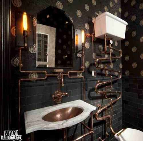 bathroom,design,pipe,Steampunk