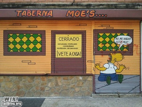 hacked irl,homer,moes-tavern,simpsons,Street Art