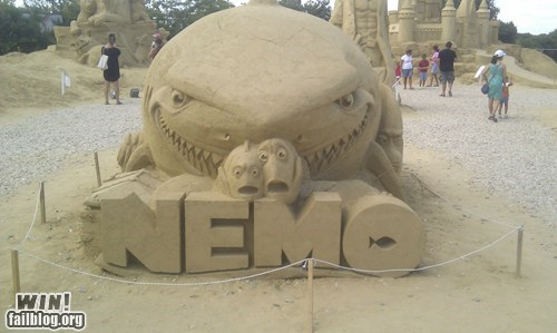 beach,finding nemo,pixar,sand,sand sculpture,summer