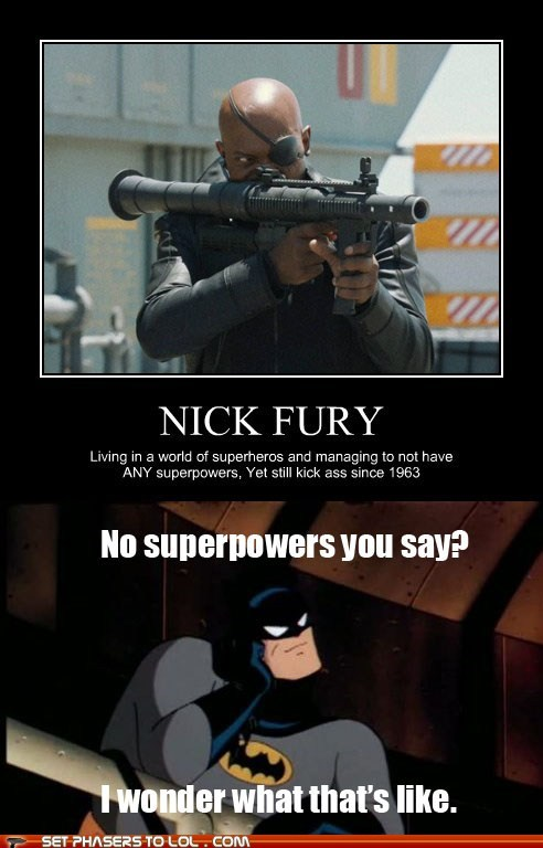 avengers,batman,batman the animated serie,batman the animated series,bruce wayne,condescending,Nick Fury,super powers,superheroes