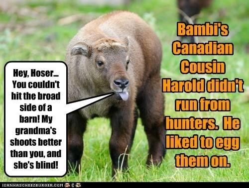 bambi canadian cousin grandma hunting sticking tongue out taunting - 6529031168