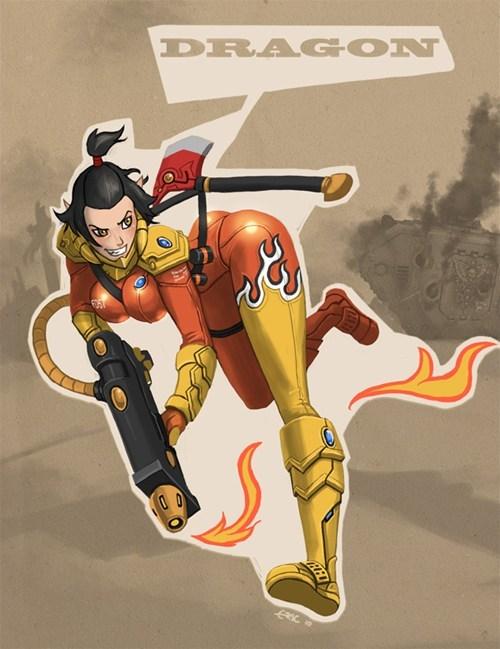 Avatar the Last Airbender,avatar-the-last-airbende,Azula,crossover,Fan Art,TF2,warhammer 40k