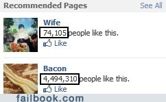 bacon,facebook page,husband,likes,wife