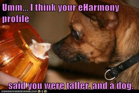 Umm... I think your eHarmony profile said you were taller, and a dog.