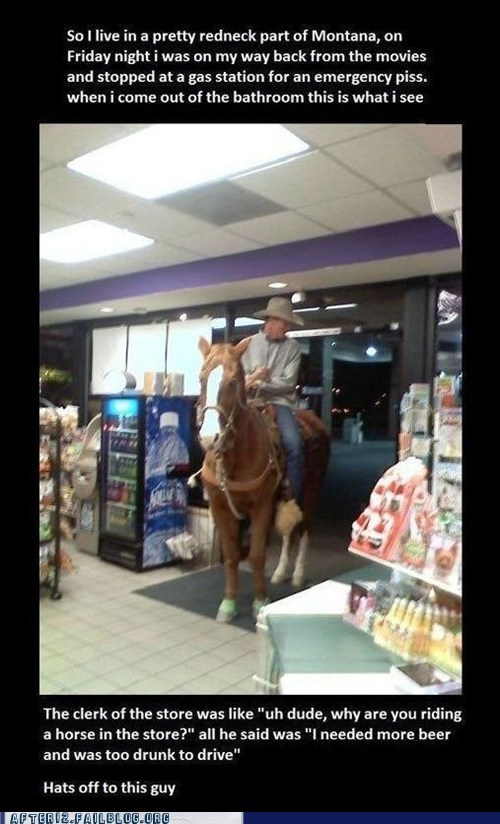 after 12,convenience store,drinking and driving,gas station,horse,too drunk to ride