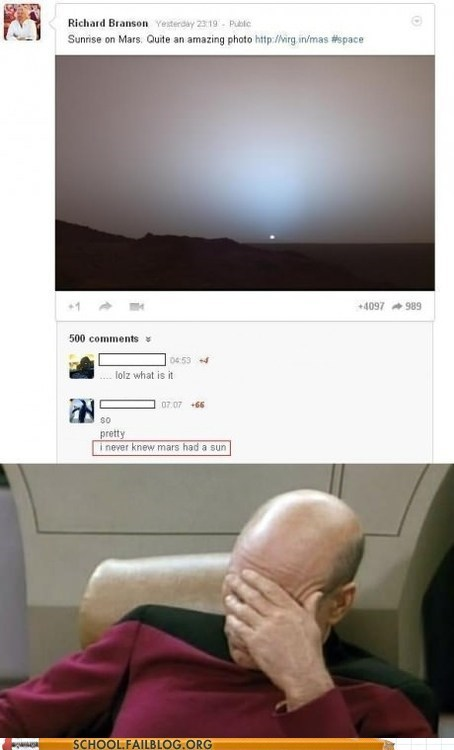 facepalm Mars stupid people sun sunrise - 6529596160