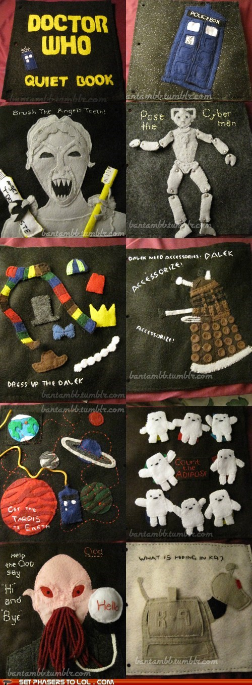 activities,daleks,doctor who,k-9,kids,ood,quiet book,tardis,weeping angels