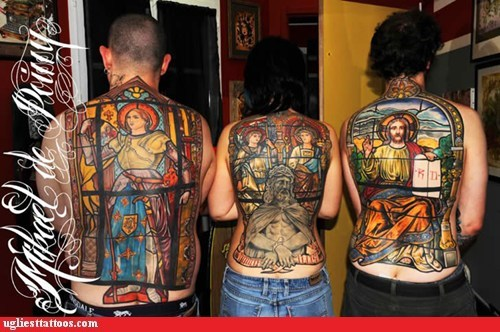 Stained Glass Win Ugliest Tattoos Funny Tattoos Bad