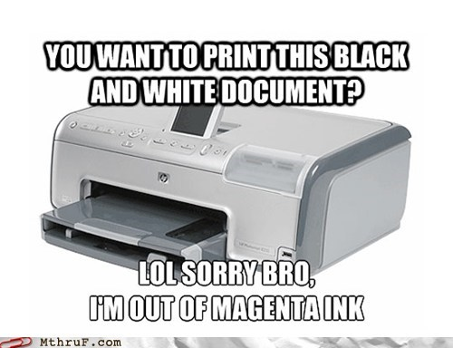 black and white ink,ink,magenta ink,out of ink,printer