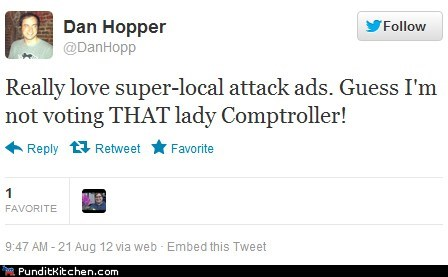 attack ad,campaign ads,comptroller,elections,local,twitter