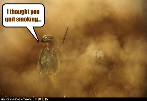 army cant-see fog quit smoke smoking soldiers stressed