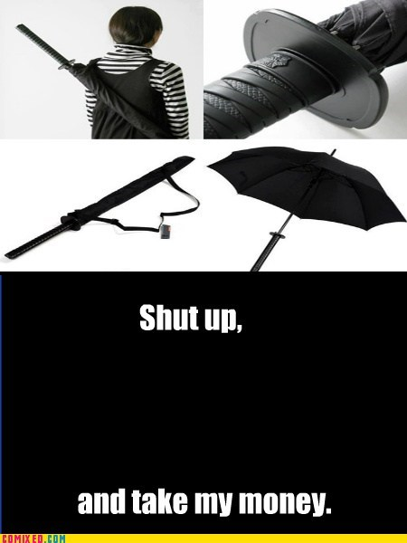 katana umbrella ninja shut up and my money umbrella
