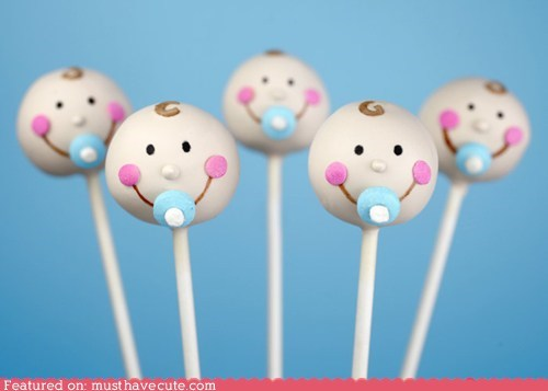 Babies cake cake pops faces heads