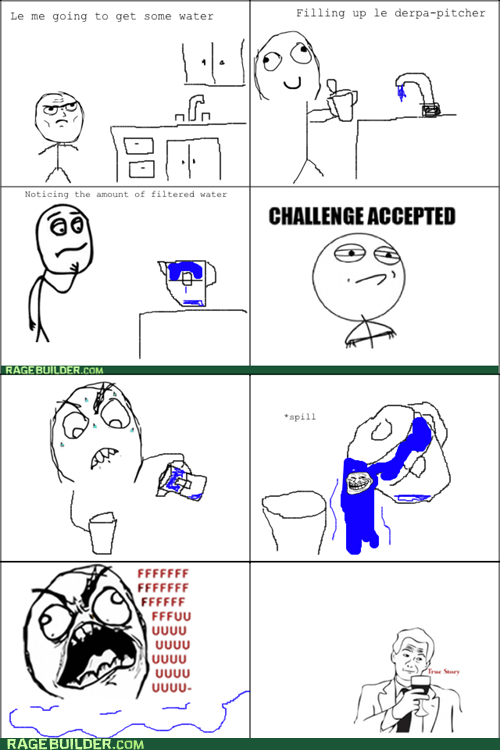rage trollface Challenge Accepted water pitcher - 6530444288