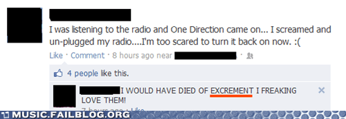 excrement,facebook,one direction