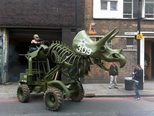 spotted in london,triceratops tractor