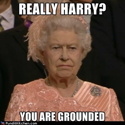 disappointed,grounded,Prince Harry,Queen Elizabeth II,really