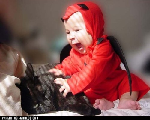 baby,baby costumes,cat,devil
