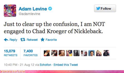 adam levine,avril lavigne,chad kroeger,funny,nickelback,tweet,twitter