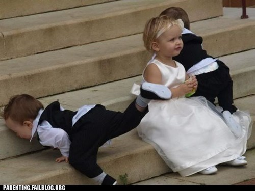 babys falling down weddings