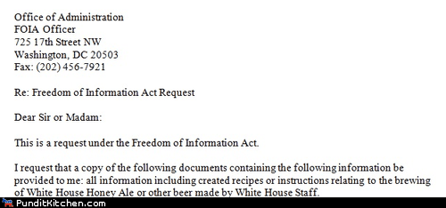 beer freedom of information ac freedom of information act homebrew request White house