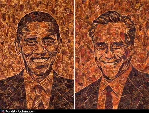 art,barack obama,beef jerky,meat,Mitt Romney,mosaic,portraits
