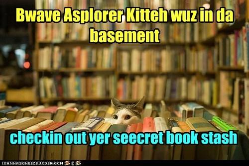 Bwave Asplorer Kitteh wuz in da basement checkin out yer seecret book stash