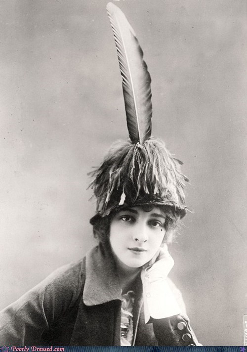 avant garde,feather hat,old timey