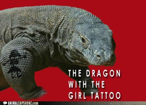book,captions,girl,komodo dragon,reversal,the girl with the dragon,The Girl with the Dragon Tattoo