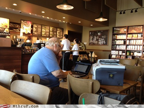 labor day never stop working printer Starbucks