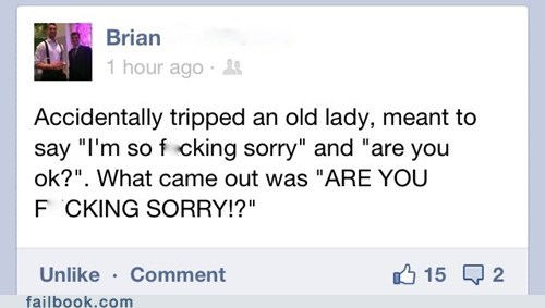 im sorry,old lady,tripped