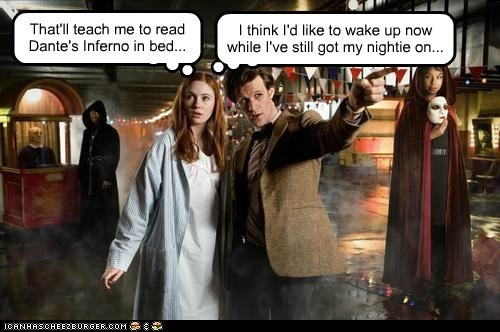 amy pond,bed,dantes inferno,doctor who,karen gillan,Matt Smith,nightie,nightmare,the doctor