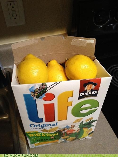 adage,brand,cereal,double meaning,lemons,life,literalism,name,when life gives you lemon,when life gives you lemons