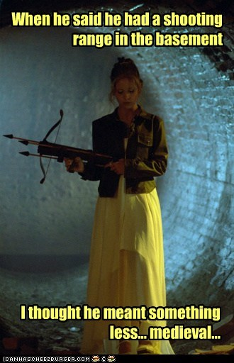 basement,buffy summers,Buffy the Vampire Slayer,crossbow,medieval,Sarah Michelle Gellar,shooting range