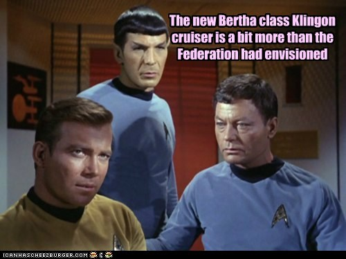 bertha Captain Kirk DeForest Kelley federation klingon Leonard Nimoy McCoy Shatnerday Spock Star Trek starship wide William Shatner - 6533883648