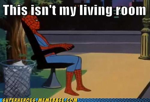 living room Spider-Man trash - 6534087680