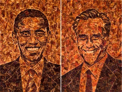barack obama,beef jerkey portraits,jason mercier,Mitt Romney