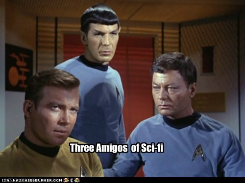 Captain Kirk,DeForest Kelley,Leonard Nimoy,McCoy,sci fi,Shatnerday,Spock,Star Trek,three amigos,William Shatner
