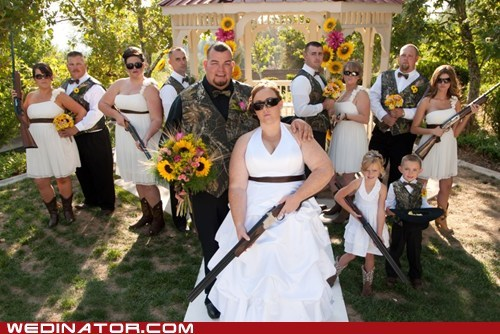 guns shotgun wedding party