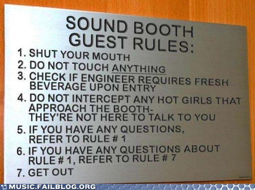 rules,sign,sound booth