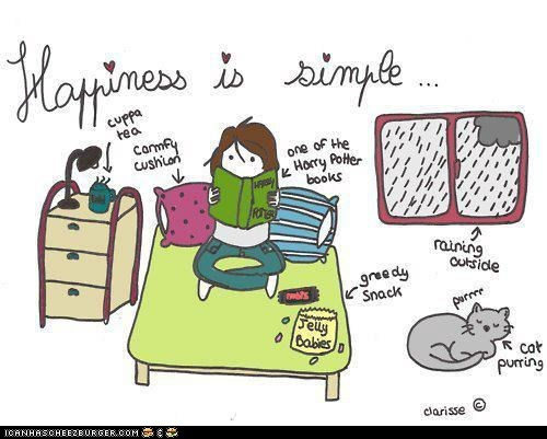 Cats,comics,happiness,Harry Potter,illustrations,reading,simple,simplicity,snacks